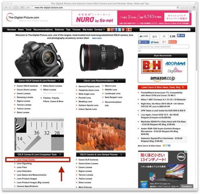一眼レフレンズの性能を比較出来るサイト(Canon・Nikon)